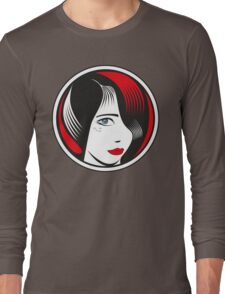Red and Black circle girl portrait Long Sleeve T-Shirt