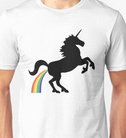 Unicorn Rainbow Poo (black design) Unisex T-Shirt