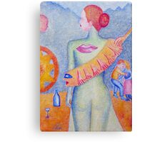 Girl with Orange Hand Shaw Canvas Print