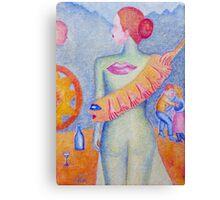 Girl with Orange Hand Shaw Canvas Print