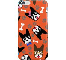 Boston Terrier Funny Faces Orange iPhone Case/Skin