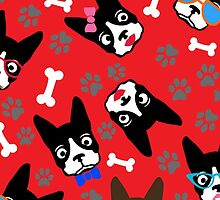 Boston Terrier Funny Faces Red by WaggSwagg