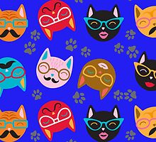 Cat Funny Faces Blue by WaggSwagg