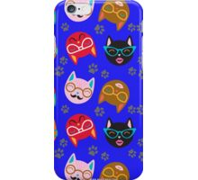 Cat Funny Faces Blue iPhone Case/Skin