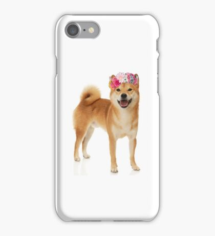 Shiba Inu Dog with a flower crown iPhone Case/Skin