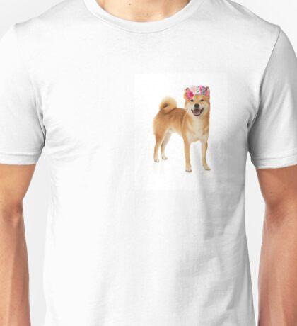 Shiba Inu Dog with a flower crown Unisex T-Shirt