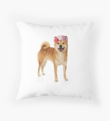 Shiba Inu Dog with a flower crown Throw Pillow