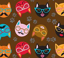 Cat Funny Faces Brown by WaggSwagg