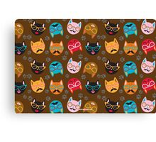 Cat Funny Faces Brown Canvas Print