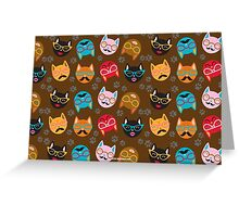 Cat Funny Faces Brown Greeting Card