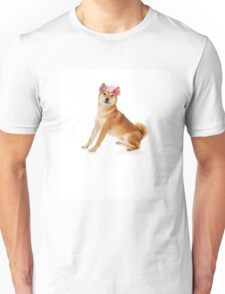 Shiba Inu with a flower crown Unisex T-Shirt