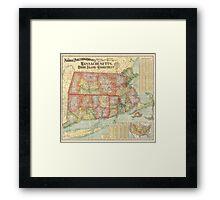 Vintage Map of New England States (1900)  Framed Print