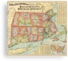 Vintage Map of New England States (1900)  Canvas Print
