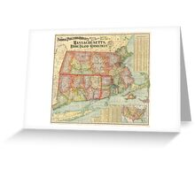 Vintage Map of New England States (1900)  Greeting Card