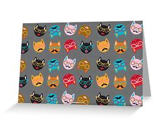 Cat Funny Faces Grey Greeting Card