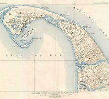 Vintage Map of Lower Cape Cod by BravuraMedia