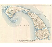Vintage Map of Lower Cape Cod Photographic Print