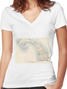 Vintage Map of Lower Cape Cod Women's Fitted V-Neck T-Shirt