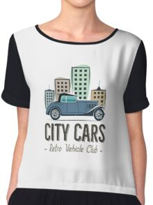 Vintage Car Label Chiffon Top