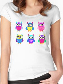 Cute Owl Sweet Nice Girl Girlfirend Modern Woman Puffy Toy Animal Design Cartoon Gift T-Shirts Women's Fitted Scoop T-Shirt