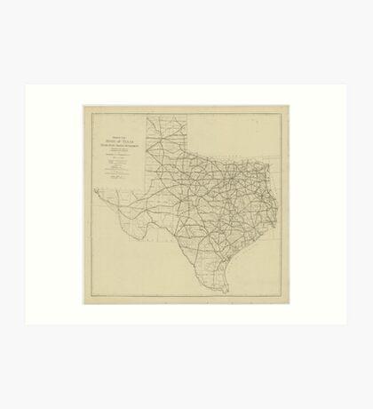 Vintage Texas Highway Map (1919) Art Print