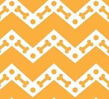 Dog Bone Chevron Gold by WaggSwagg