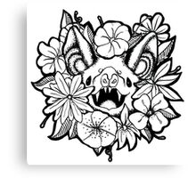 Happy Floral Bat Canvas Print