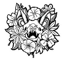 Happy Floral Bat Photographic Print