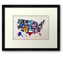 USA State Flags Map Mosaic Framed Print