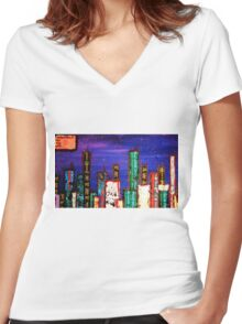 meanwhile in the city Women's Fitted V-Neck T-Shirt