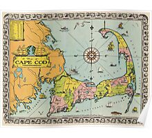 Vintage Map of Cape Cod Poster