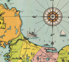 Vintage Map of Cape Cod Sticker