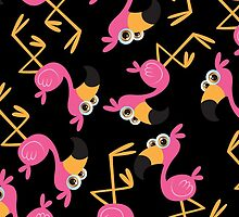 Cute Flamingo Black by WaggSwagg
