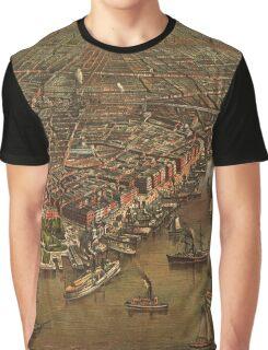 Vintage Historic New York Map 1873 Graphic T-Shirt