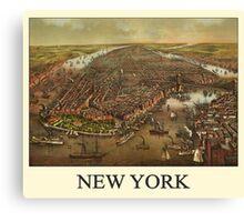 Vintage Historic New York Map 1873 Canvas Print