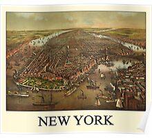 Vintage Historic New York Map 1873 Poster