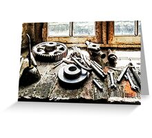 Gears and Wrenches in Machine Shop Greeting Card