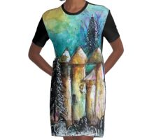 Fairy Homes - winter dwellings Graphic T-Shirt Dress