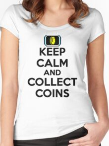 Keep Calm and Collect Coins Women's Fitted Scoop T-Shirt