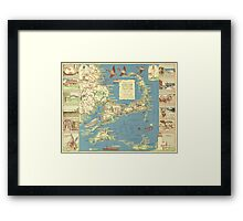 Vintage Map of Cape Cod (1940) Framed Print