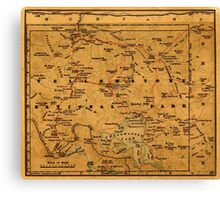 Map Of Yellowstone 1880 Canvas Print