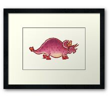 Pink Triceratops Derposaur with Wellies Framed Print