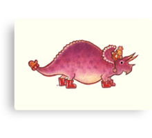Pink Triceratops Derposaur with Wellies Canvas Print