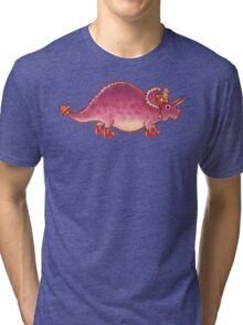 Pink Triceratops Derposaur with Wellies Tri-blend T-Shirt