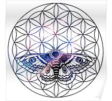 Flower of Life Moth Poster