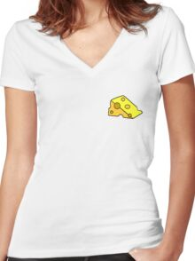 Cheese Slice Women's Fitted V-Neck T-Shirt