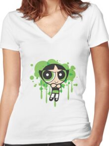 The Green Powerpuff Sticker Women's Fitted V-Neck T-Shirt