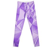 Purple fractals pattern, triangles, geometric Leggings