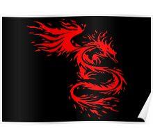Flying Fire Dragon Design Poster