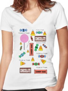 Halloween Candy Explosion Women's Fitted V-Neck T-Shirt